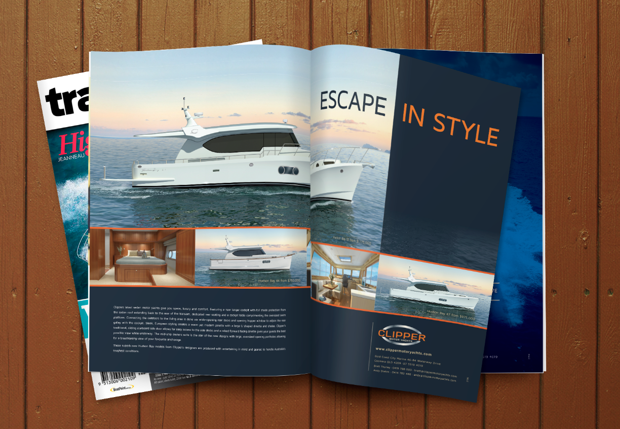 Clipper Motor Yachts Magazine Ad